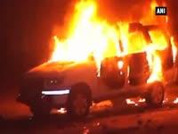 Locals set police vehicle ablaze during anti-encroachment dr...